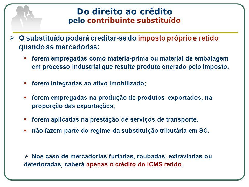 Do direito ao crédito pelo contribuinte substituído