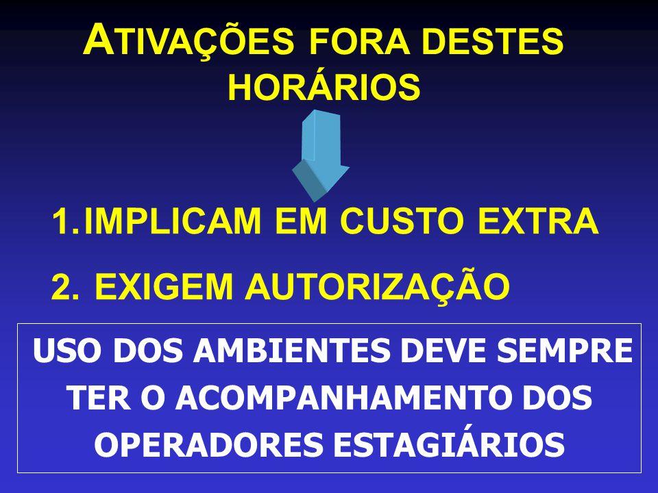 ATIVAÇÕES FORA DESTES HORÁRIOS