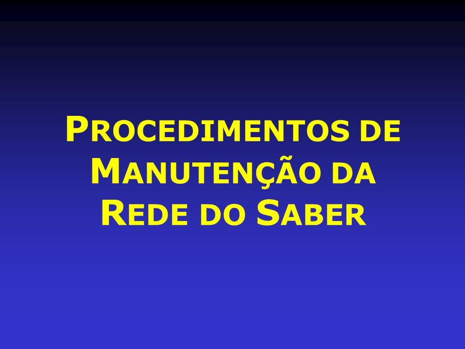 PROCEDIMENTOS DE MANUTENÇÃO DA REDE DO SABER