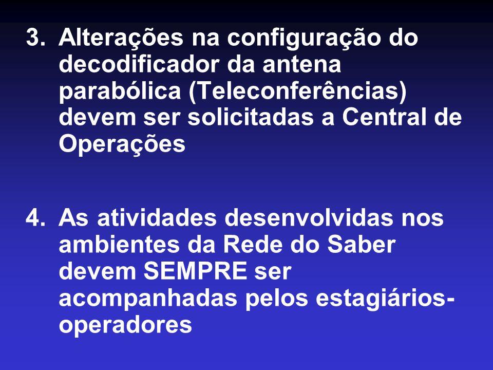 Alterações na configuração do decodificador da antena parabólica (Teleconferências) devem ser solicitadas a Central de Operações