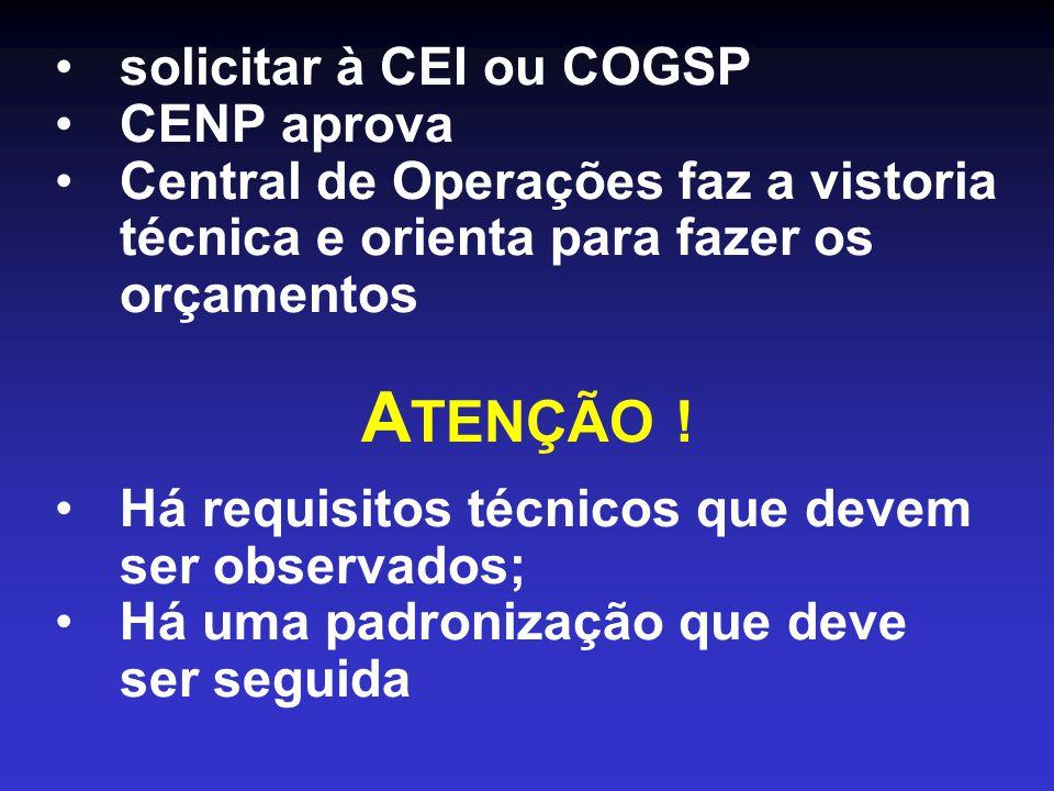 ATENÇÃO ! solicitar à CEI ou COGSP CENP aprova
