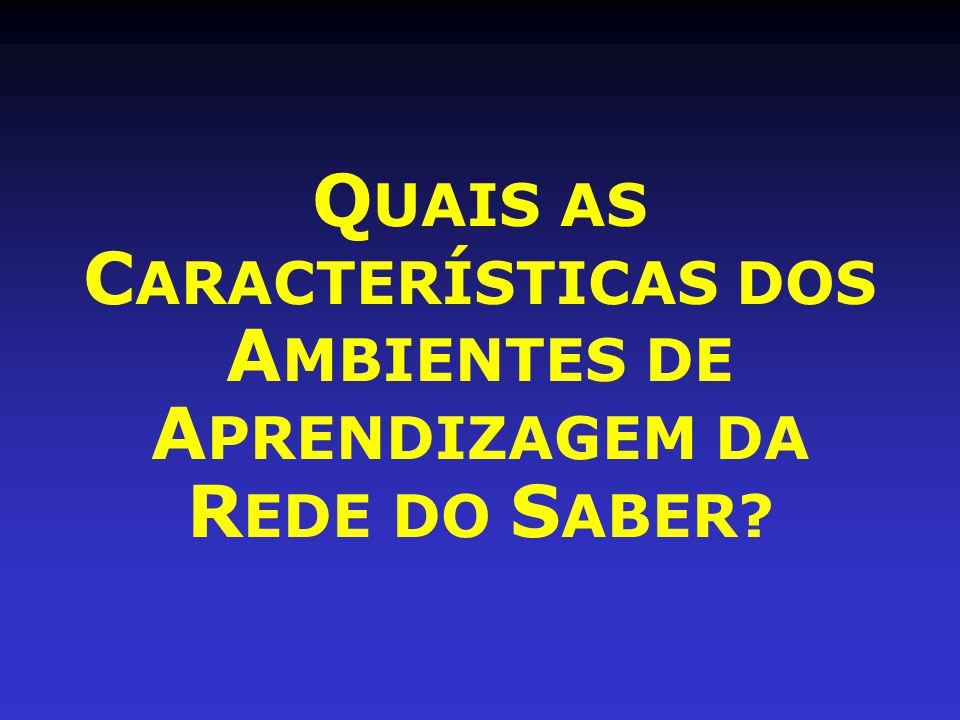 QUAIS AS CARACTERÍSTICAS DOS AMBIENTES DE APRENDIZAGEM DA REDE DO SABER