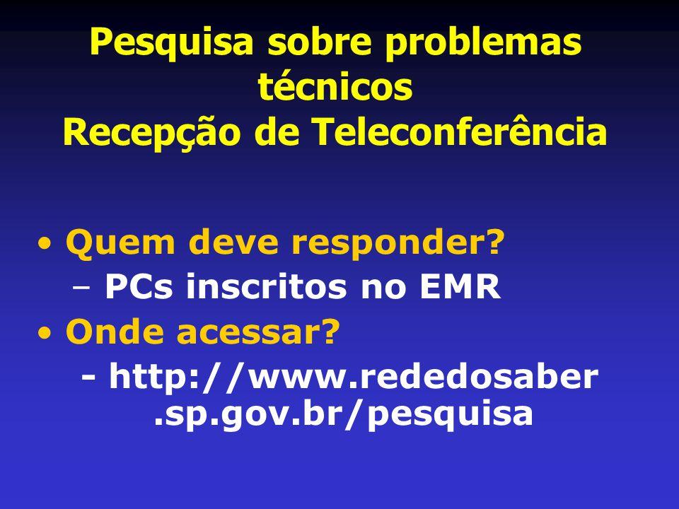 Pesquisa sobre problemas técnicos Recepção de Teleconferência