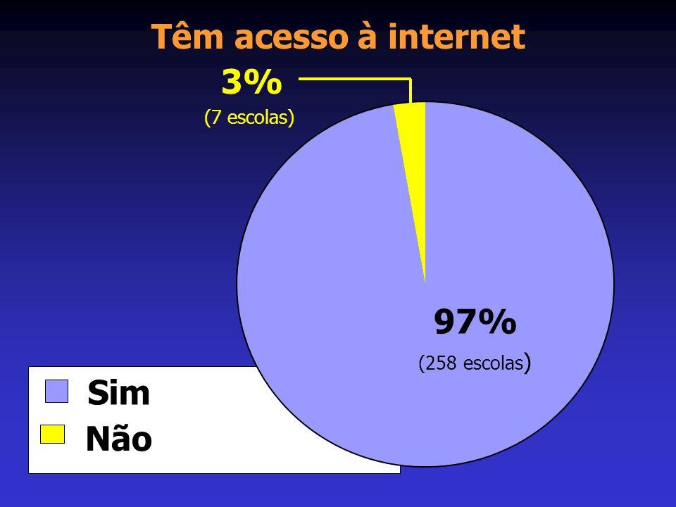 Têm acesso à internet 3% (7 escolas) 97% (258 escolas) Sim Não