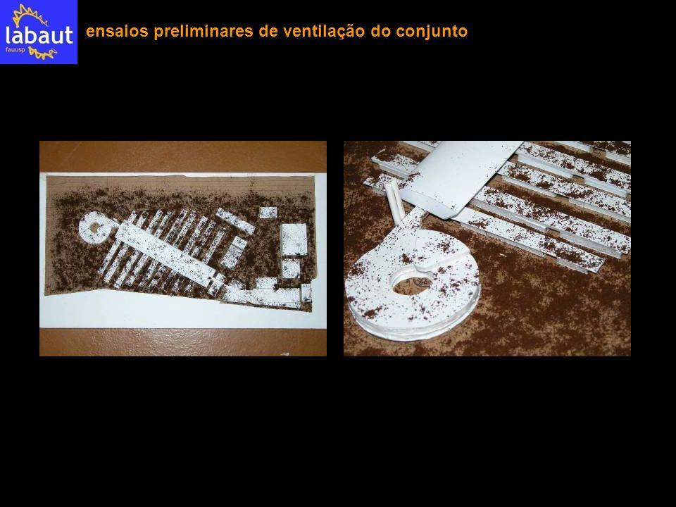 ensaios preliminares de ventilação do conjunto