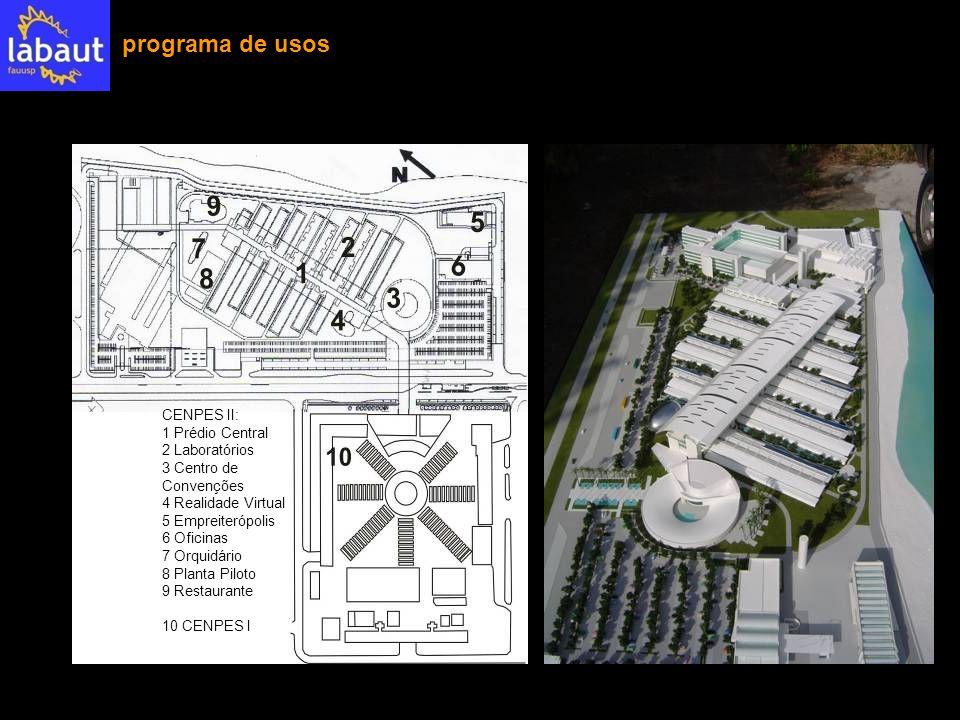 programa de usos CENPES II: 1 Prédio Central 2 Laboratórios