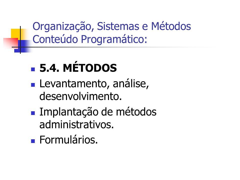Organização, Sistemas e Métodos Conteúdo Programático: