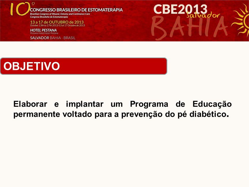 OBJETIVO Elaborar e implantar um Programa de Educação permanente voltado para a prevenção do pé diabético.