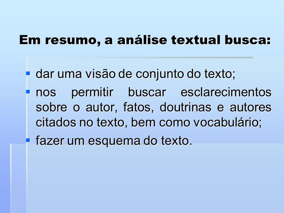 Em resumo, a análise textual busca: