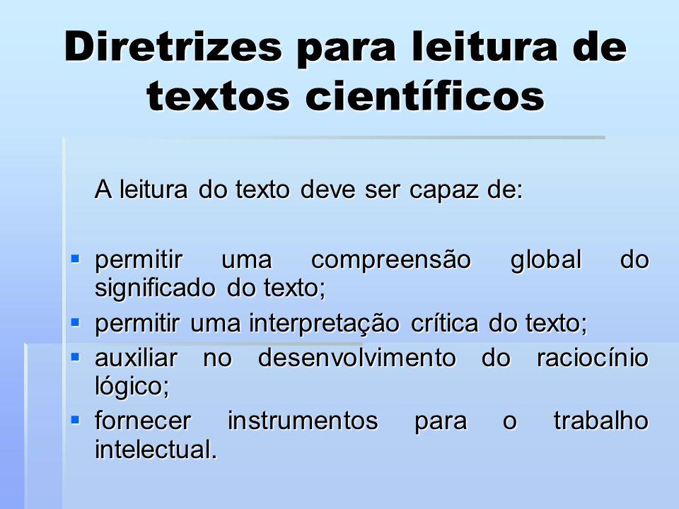 Diretrizes para leitura de textos científicos