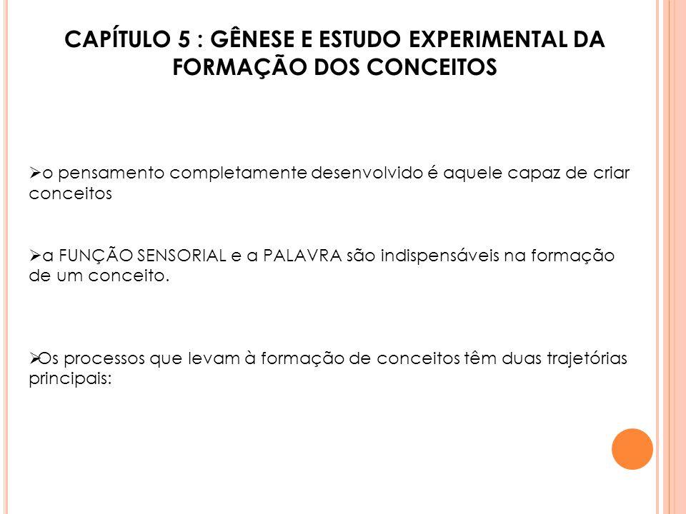 CAPÍTULO 5 : GÊNESE E ESTUDO EXPERIMENTAL DA FORMAÇÃO DOS CONCEITOS