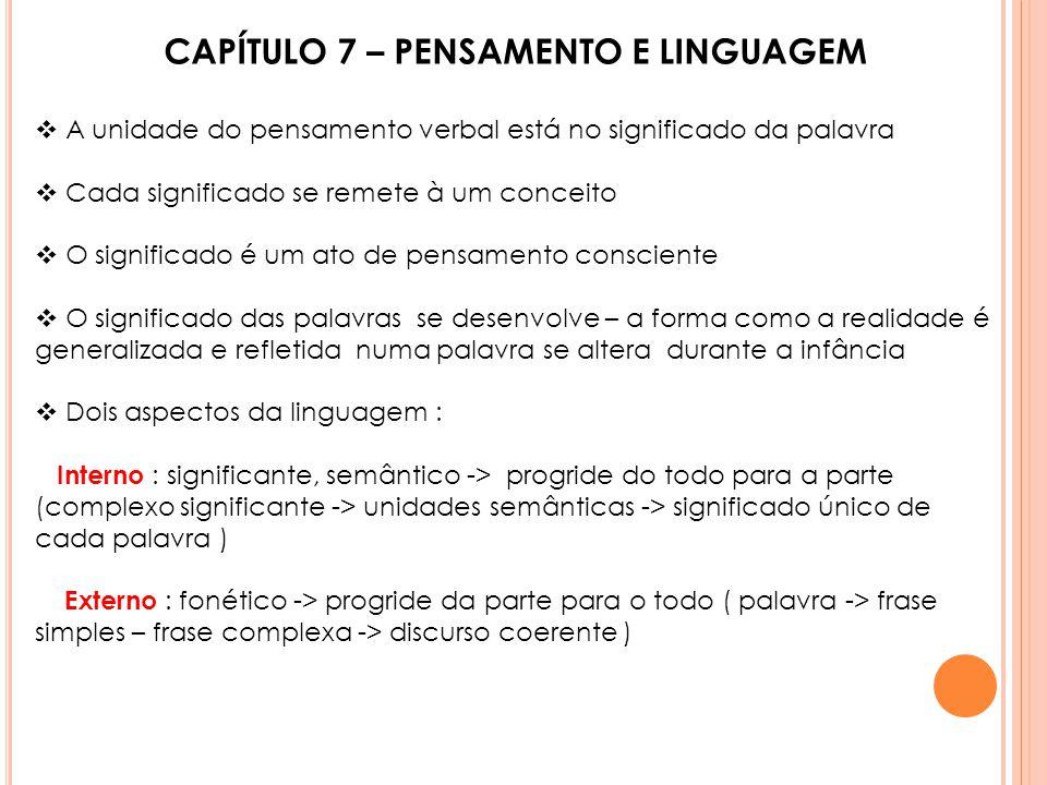 CAPÍTULO 7 – PENSAMENTO E LINGUAGEM