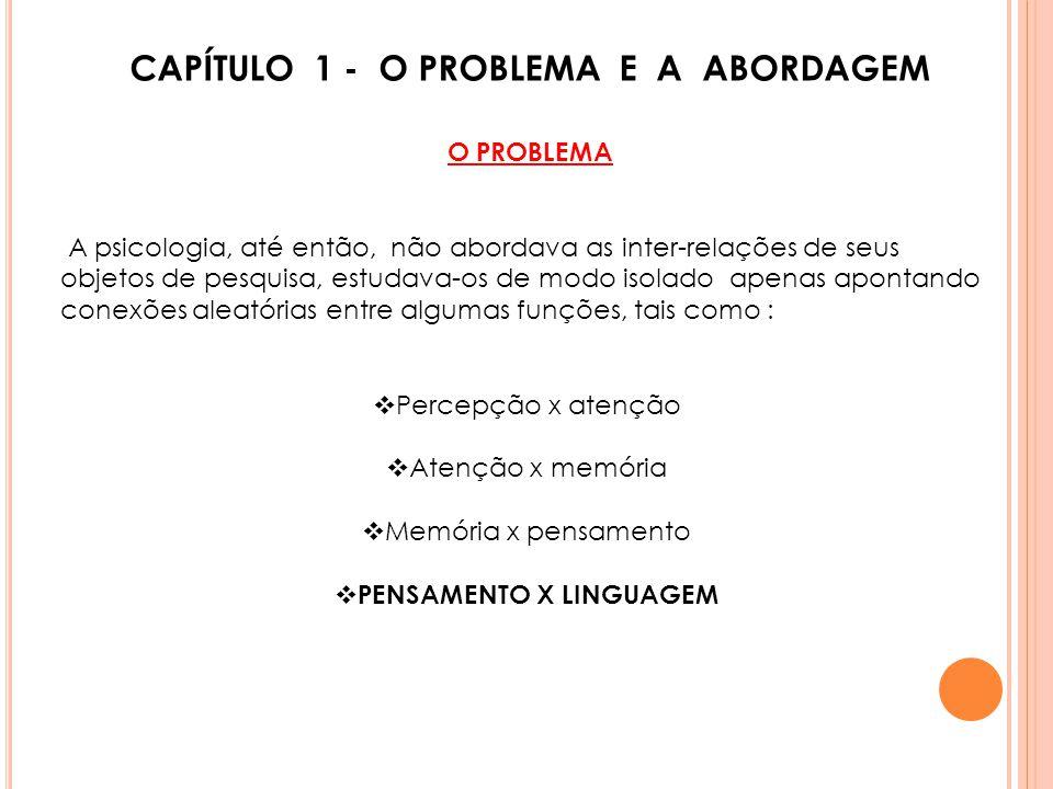 CAPÍTULO 1 - O PROBLEMA E A ABORDAGEM PENSAMENTO X LINGUAGEM