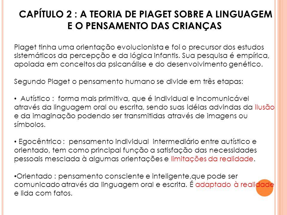 CAPÍTULO 2 : A TEORIA DE PIAGET SOBRE A LINGUAGEM E O PENSAMENTO DAS CRIANÇAS