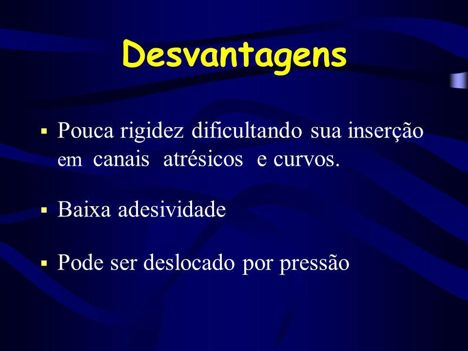 Desvantagens Pouca rigidez dificultando sua inserção em canais atrésicos e curvos. Baixa adesividade.
