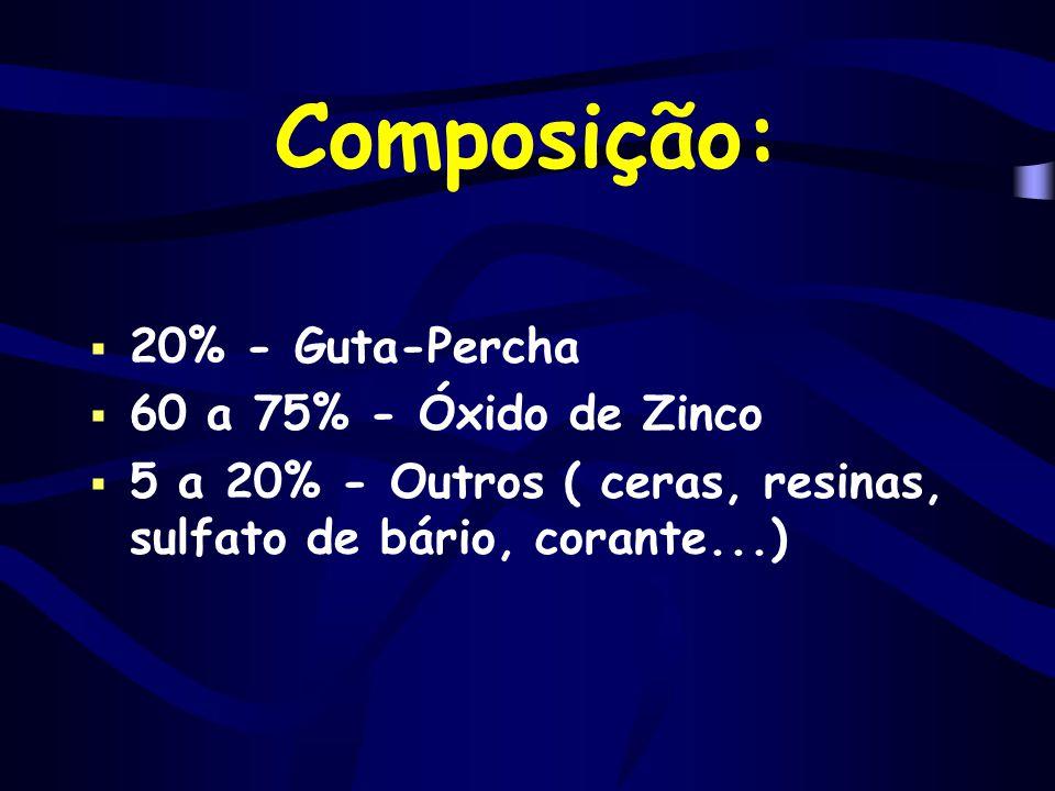 Composição: 20% - Guta-Percha 60 a 75% - Óxido de Zinco