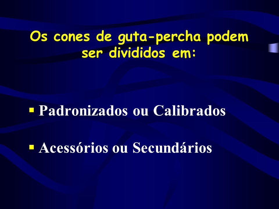 Os cones de guta-percha podem ser divididos em: