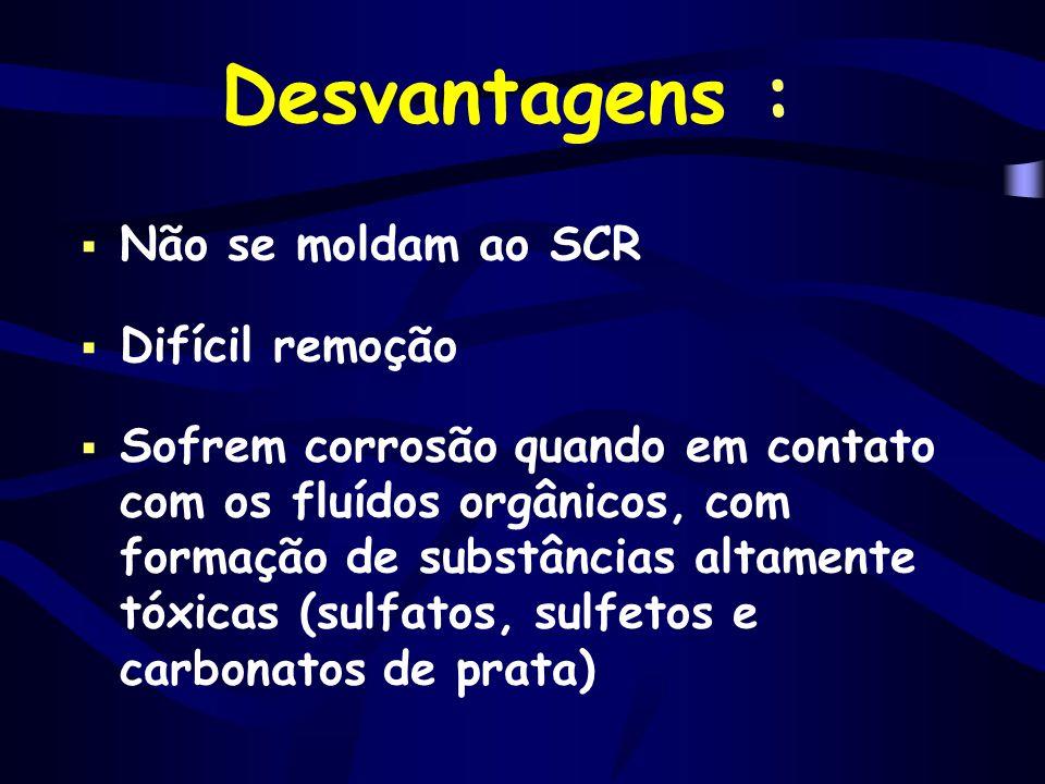 Desvantagens : Não se moldam ao SCR Difícil remoção