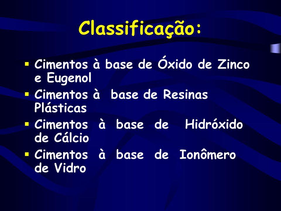 Classificação: Cimentos à base de Óxido de Zinco e Eugenol