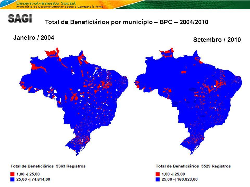 Total de Beneficiários por município – BPC – 2004/2010