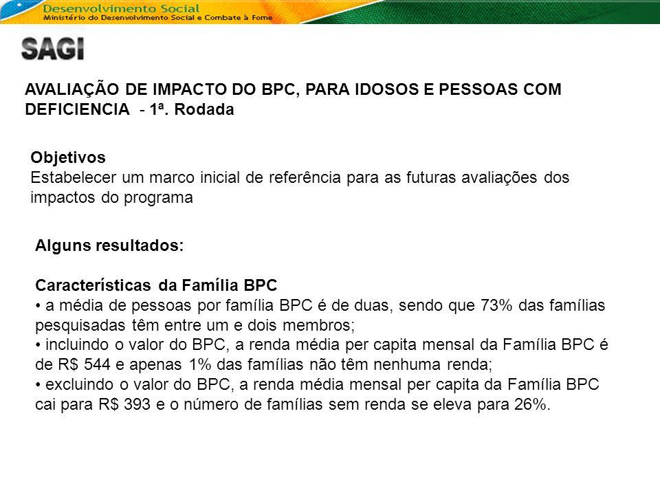 AVALIAÇÃO DE IMPACTO DO BPC, PARA IDOSOS E PESSOAS COM DEFICIENCIA - 1ª. Rodada