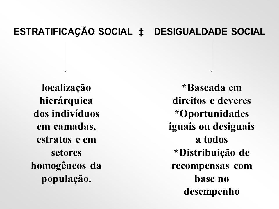 ESTRATIFICAÇÃO SOCIAL ‡ DESIGUALDADE SOCIAL
