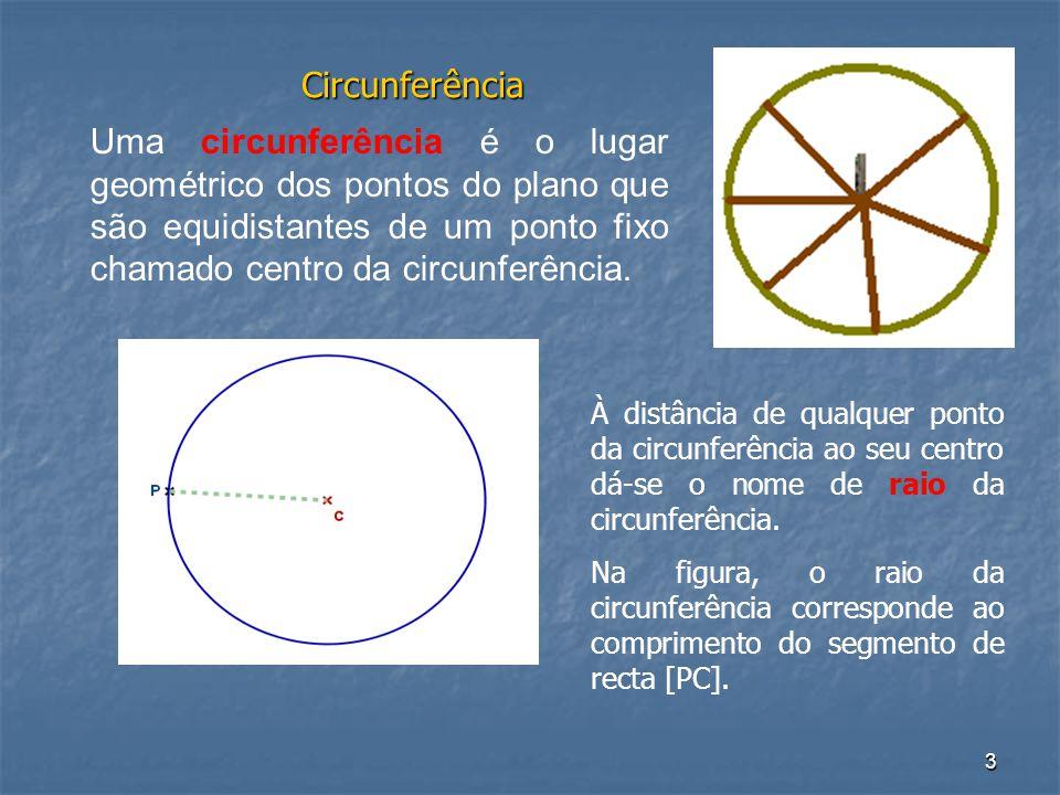 Circunferência Uma circunferência é o lugar geométrico dos pontos do plano que são equidistantes de um ponto fixo chamado centro da circunferência.