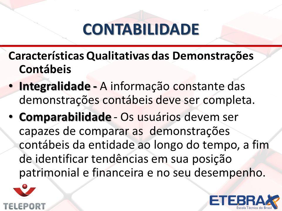 CONTABILIDADE Características Qualitativas das Demonstrações Contábeis.
