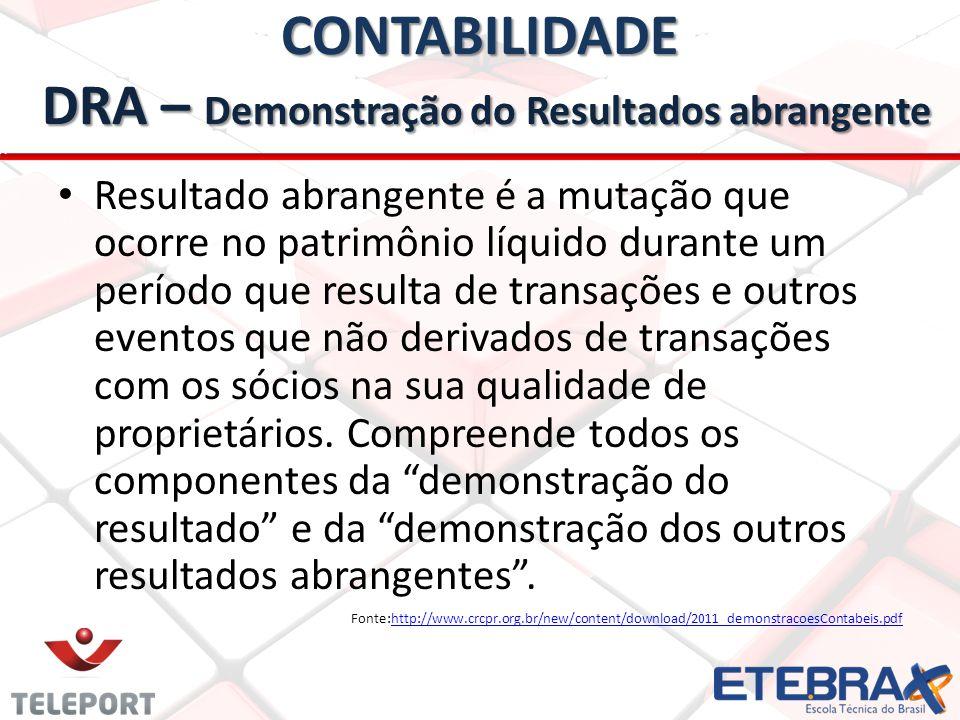 CONTABILIDADE DRA – Demonstração do Resultados abrangente