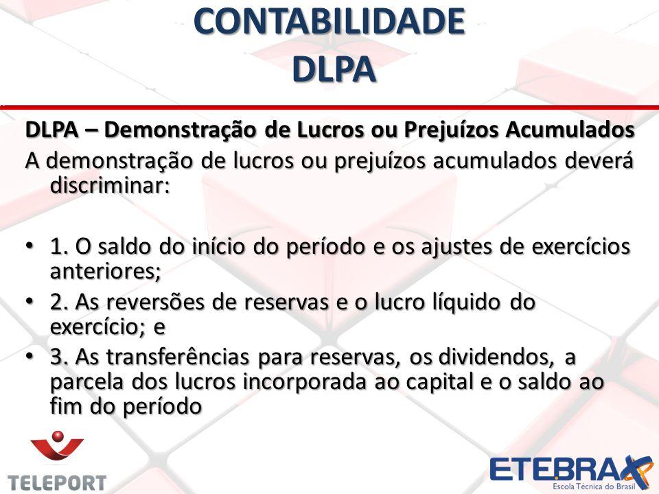 CONTABILIDADE DLPA DLPA – Demonstração de Lucros ou Prejuízos Acumulados. A demonstração de lucros ou prejuízos acumulados deverá discriminar: