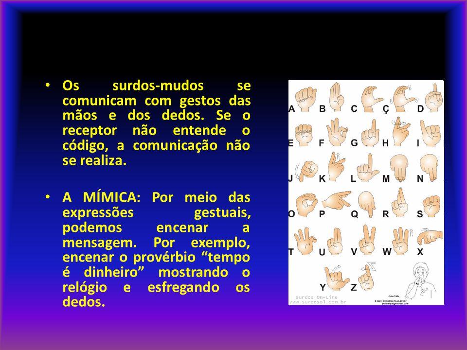 LINGUAGEM NÃO VERBAL Os surdos-mudos se comunicam com gestos das mãos e dos dedos. Se o receptor não entende o código, a comunicação não se realiza.