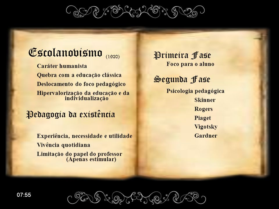 Escolanovismo (1920) Primeira Fase Segunda Fase