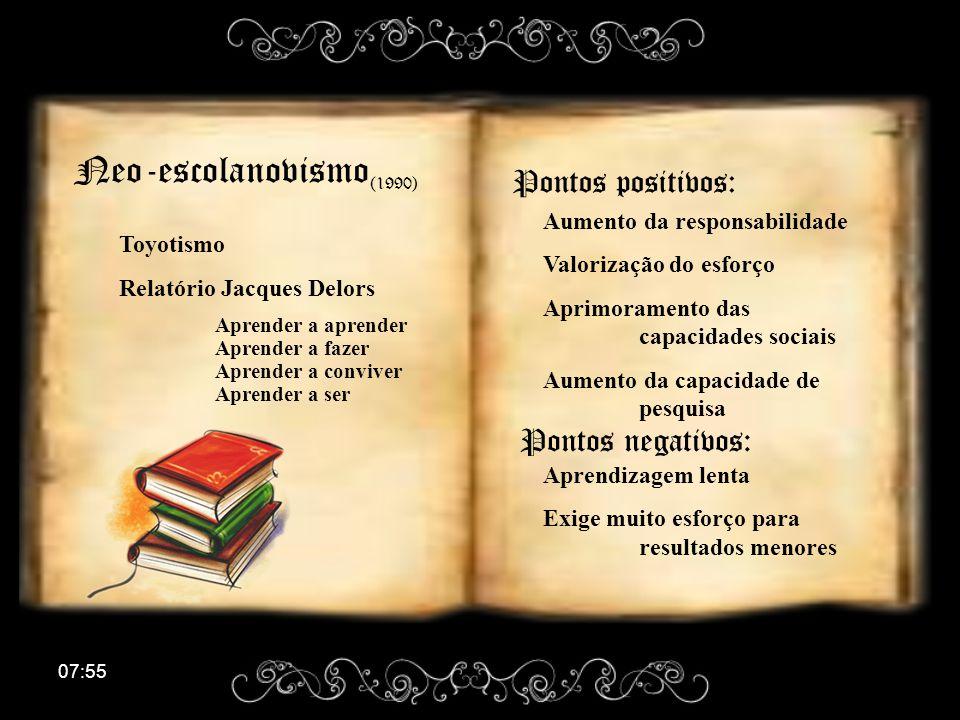 Neo-escolanovismo(1990) Pontos positivos: Pontos negativos: