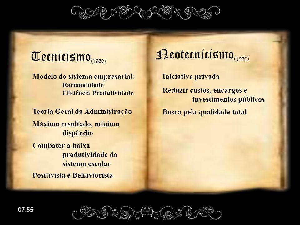 Neotecnicismo(1990) Tecnicismo(1960)