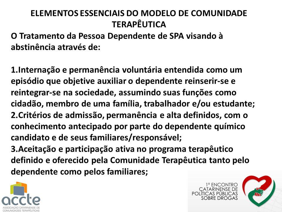 ELEMENTOS ESSENCIAIS DO MODELO DE COMUNIDADE TERAPÊUTICA
