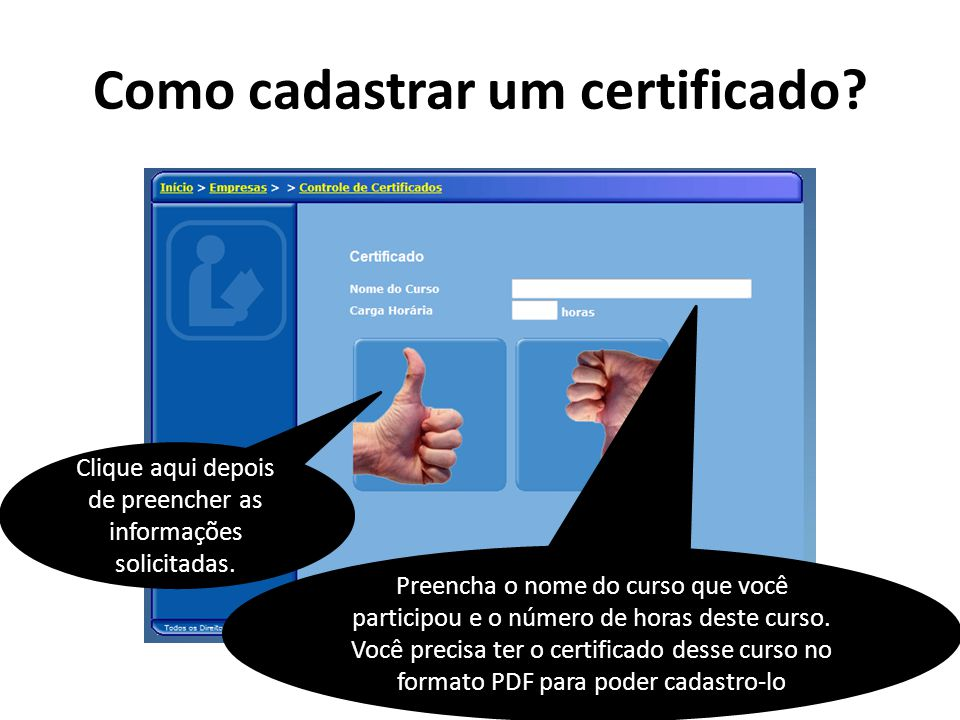 Como cadastrar um certificado