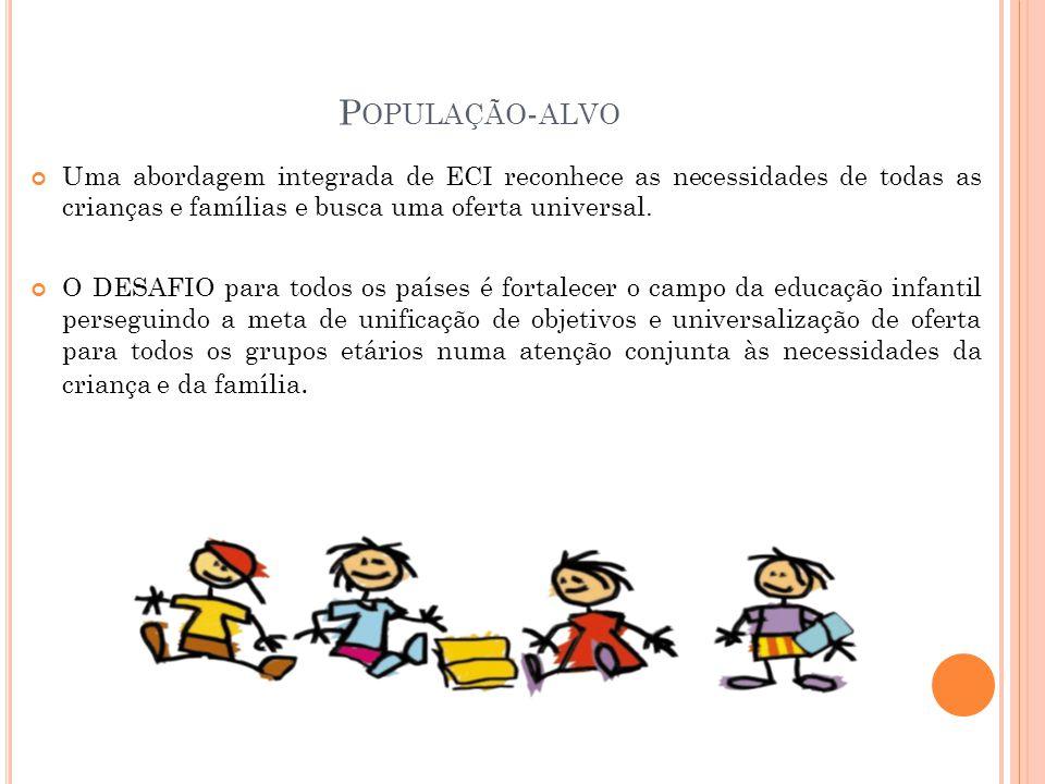 População-alvo Uma abordagem integrada de ECI reconhece as necessidades de todas as crianças e famílias e busca uma oferta universal.