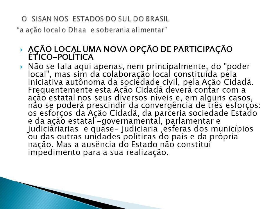 O SISAN NOS ESTADOS DO SUL DO BRASIL a ação local o Dhaa e soberania alimentar