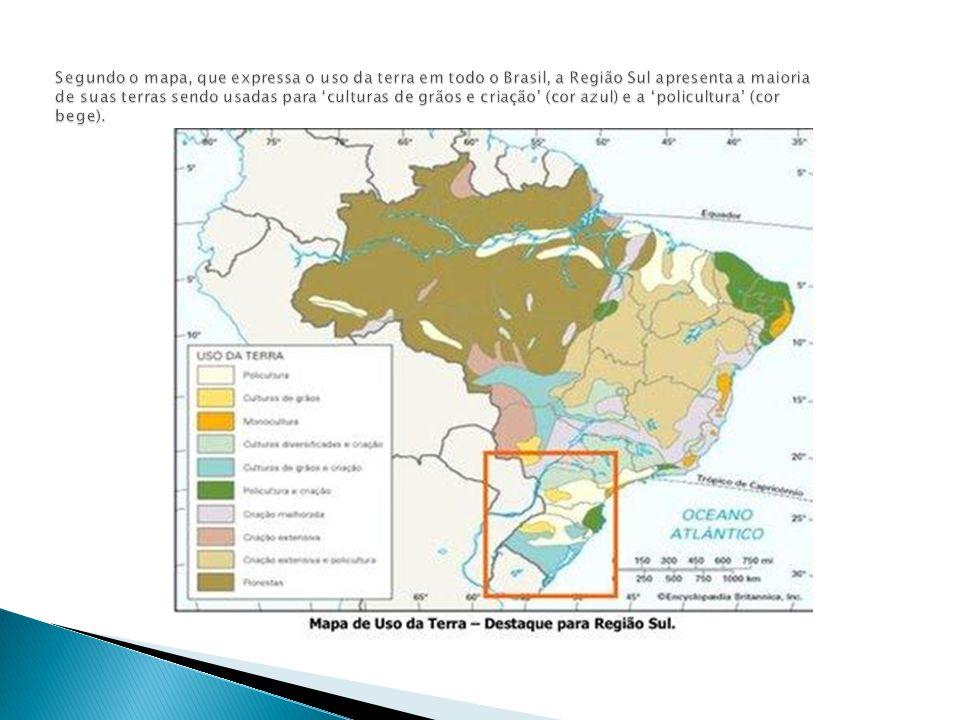 Segundo o mapa, que expressa o uso da terra em todo o Brasil, a Região Sul apresenta a maioria de suas terras sendo usadas para 'culturas de grãos e criação' (cor azul) e a 'policultura' (cor bege).