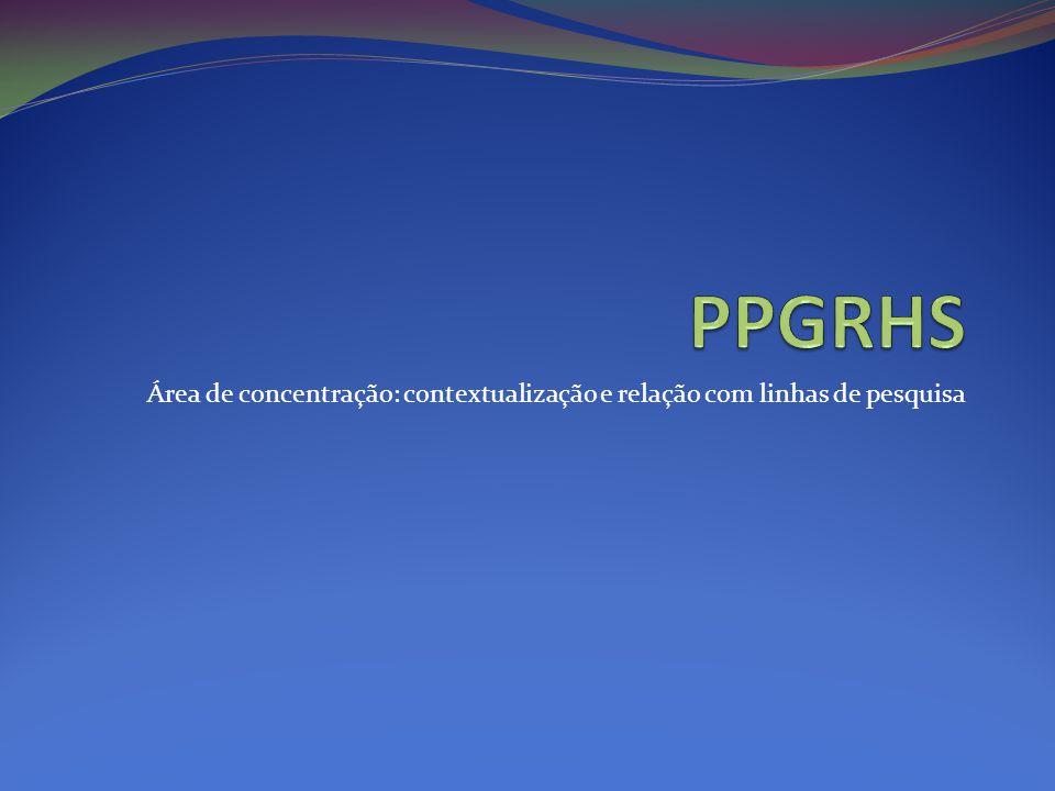PPGRHS Área de concentração: contextualização e relação com linhas de pesquisa