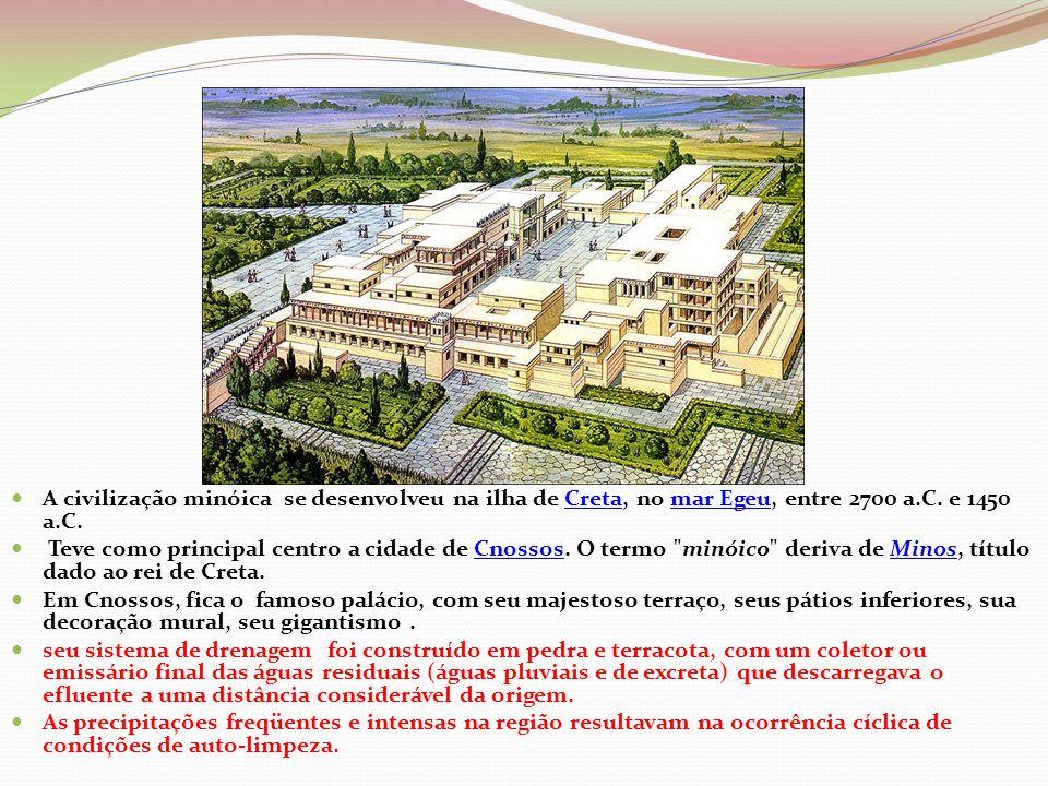 A civilização minóica se desenvolveu na ilha de Creta, no mar Egeu, entre 2700 a.C. e 1450 a.C.