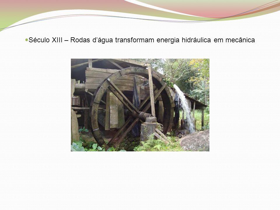 Século XIII – Rodas d'água transformam energia hidráulica em mecânica