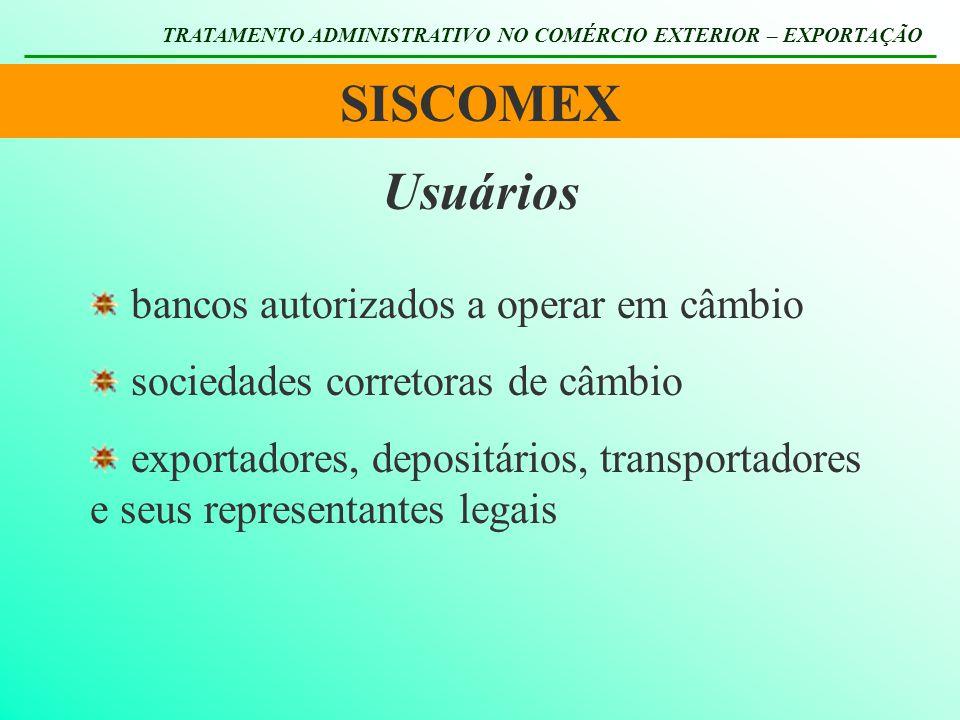 SISCOMEX Usuários bancos autorizados a operar em câmbio
