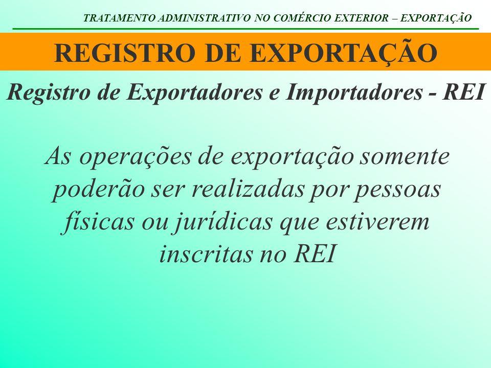 REGISTRO DE EXPORTAÇÃO Registro de Exportadores e Importadores - REI
