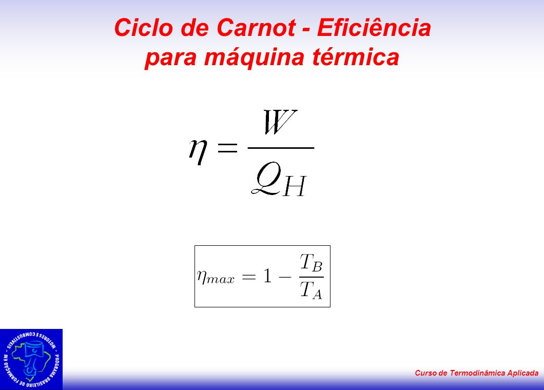 Ciclo de Carnot - Eficiência para máquina térmica