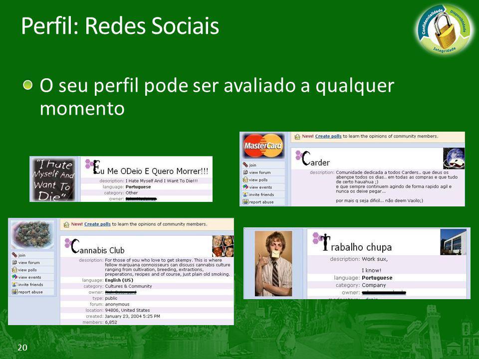 Perfil: Redes Sociais O seu perfil pode ser avaliado a qualquer momento.