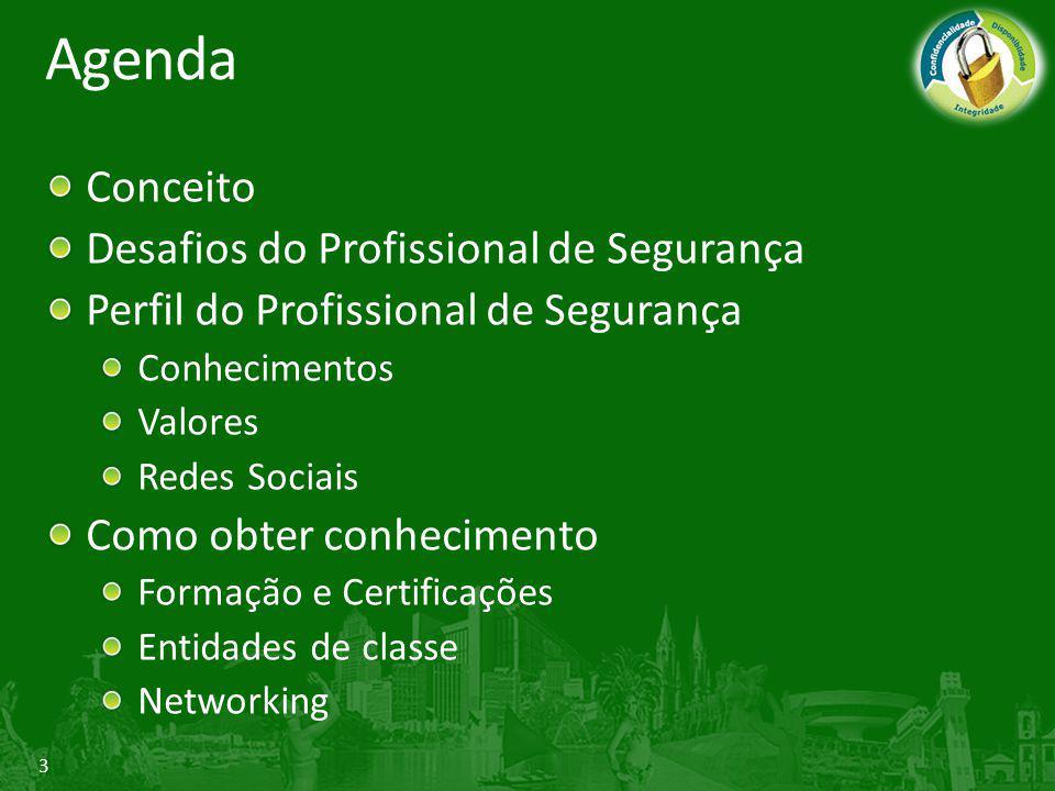 Agenda Conceito Desafios do Profissional de Segurança