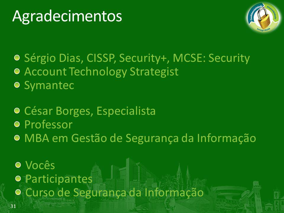 Agradecimentos Sérgio Dias, CISSP, Security+, MCSE: Security