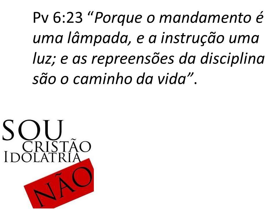 Pv 6:23 Porque o mandamento é uma lâmpada, e a instrução uma luz; e as repreensões da disciplina são o caminho da vida .