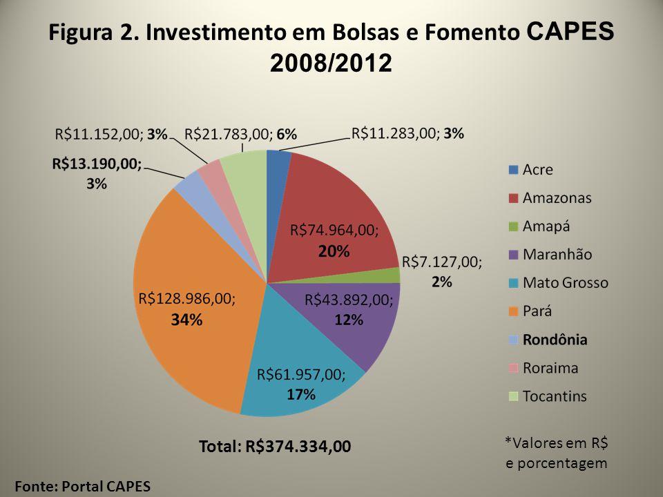 Figura 2. Investimento em Bolsas e Fomento CAPES 2008/2012